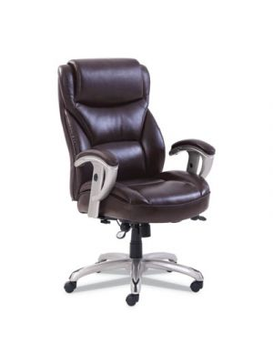Emerson Big and Tall Task Chair, 22w x 21 1/2d x 22 1/2h Seat, Brown Leather