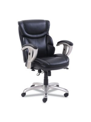 Emerson Task Chair, 21 1/4w x 19 3/4d x 21 3/4h Seat, Black Leather
