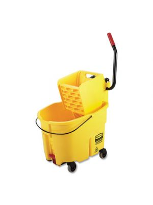 WaveBrake 2.0 Bucket/Wringer Combos, 8.75 gal, Side Press with Drain, Yellow