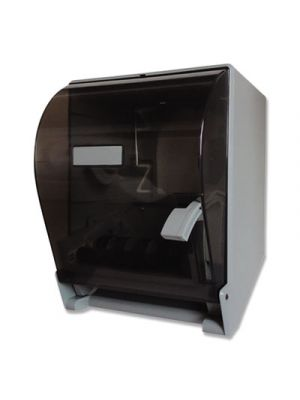 Lever Action Roll Towel Dispenser, 9.65 x 11.22 x 14.37, Translucent Smoke