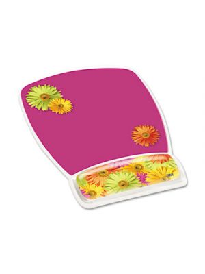 Fun Design Clear Gel Mouse Pad Wrist Rest, 6 4/5 x 8 3/5 x 3/4, Daisy Design