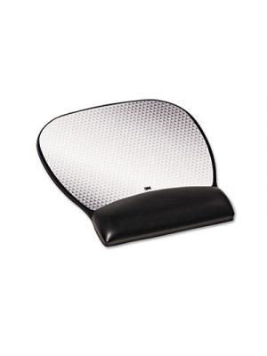 Precise Leatherette Mouse Pad w/Wrist Rest, Nonskid Base, 8-3/4 x 9-1/4, Black