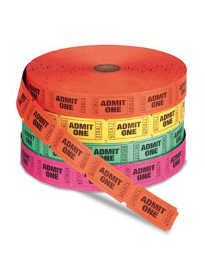 Admit One Single Ticket Roll, Numbered, Assorted, 2000 Tickets/Roll