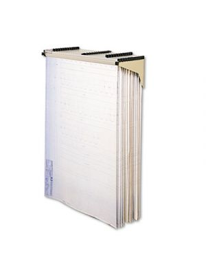 Sheet File Drop/Lift Wall Rack, 12 Hanging Clamps, 43 3/4 x 11 1/2 x 7 3/4, Sand