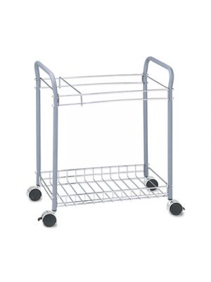 Rolling Project File Rack, 12 Hanging Clamps, 21 x 13 3/4 x 24 3/4, Light Gray