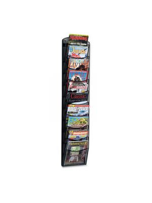 Onyx Mesh Literature Rack, Ten Compartments, 10-1/4w x 3-1/2d x 50-3/4h, Black