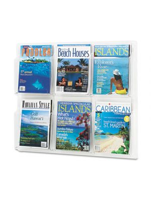 Reveal Clear Literature Displays, Six Compartments, 30w x 2d x 24-1/2h, Clear