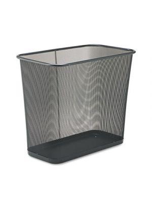 Steel Mesh Wastebasket, Rectangular, 7.5gal, Black