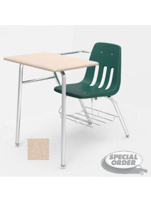9400 Series Chair Desk, 21w x 33-1/2d x 30h, Sandstone/Forest Green, 2/Carton